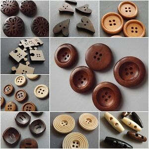 10 Black Wooden Toggle Buttons 2 Holes Sewing Knitwear Coat Craft 30mm