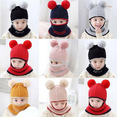 Toddler Kids Baby Boy Girl Pompon Hat Winter Warm Knit Crochet Beanie Cap Scarf