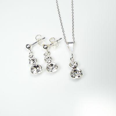 Damen Set Ohrringe Halskette Anhänger 925 Sterling Silber Swarovski Kristalle ks