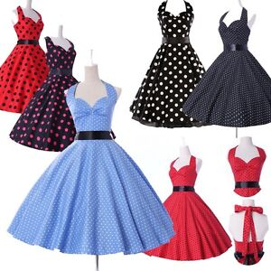 CHEAP-50s-60s-Vintage-mural-Dancing-Party-Swing-Jive-Rockabilly-Dot-Dress-Skirts