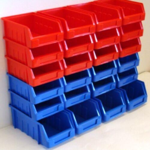 24 Mixte Coloré pièces stockage Pick Bin Poubelle Boîte Empilable autoportante