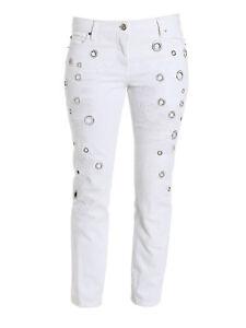 * NWT ROBERTO CAVALLI Metal eyelet jeans White 38 (US2) LAST ONE $1895