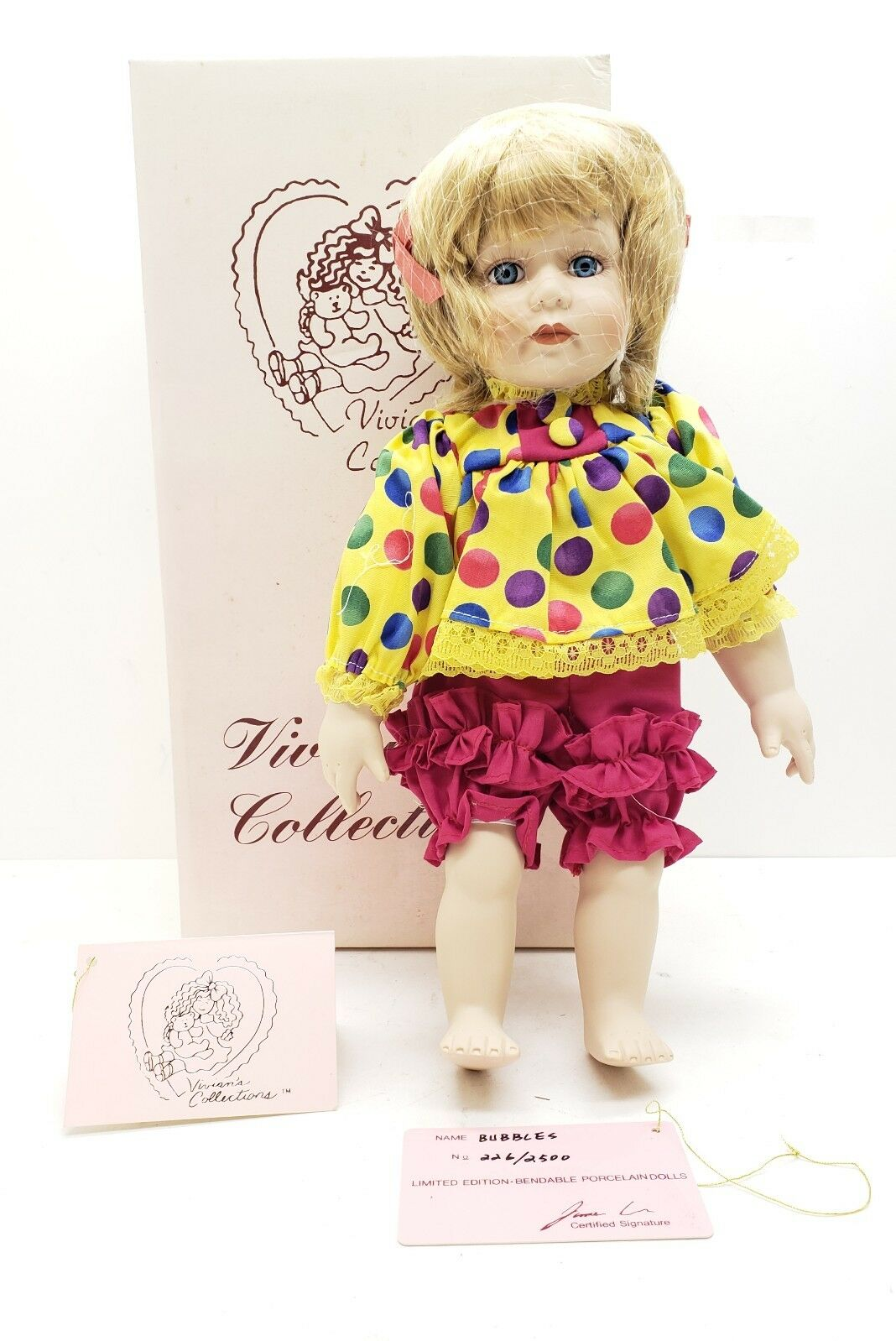 Vivian's Collections Limited Edition Bendable Porcelain Doll  Bubbles  Rare
