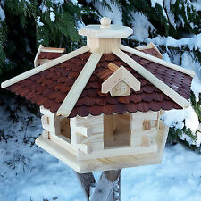 XXL Design Vogelhaus Futterspender mit Ständer Häuschen Holz Nistkasten Schindel
