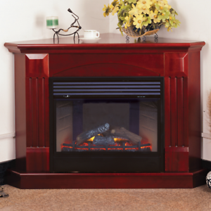 Prime Details About Procom Deluxe Electric Corner Fireplace With Remote Control Cherry Finish Download Free Architecture Designs Xerocsunscenecom