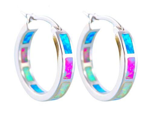 FIRE OPAL HOOP EARRINGS 925 Sterling Silver 3 Colours Pink Blue White Gift