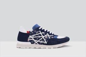 MR-BIG-LIM-STAR-BLU-Scarpe-uomo-L4k3-Blu-stelle-con-corde-sneakers-made-in-Italy