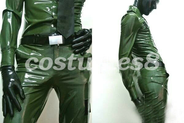Latex Rubber Men Police Uniforms Coat and Pants Metal Grün 0.4mm Größe Men XXL