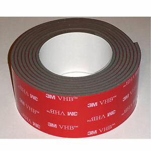 """3M 4991 VHB 1""""x 10 ft, 0.090"""" thick Double Sided tape for GoPro mounts - USA"""