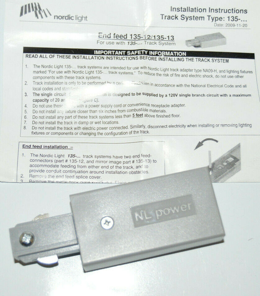 Nordic Light 135-11-10 Track Lighting T Feed Connector Single Circuit 135..White
