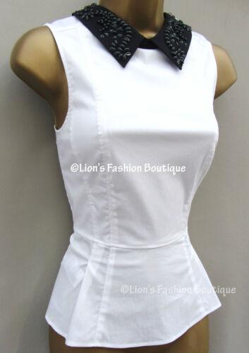 10 Nero Uk Camicia misto 8 Camicia Impreziosita New Bnwt Hq055 Taglia £ Top Bianco cotone Karen 125 Millen zUX7UZ