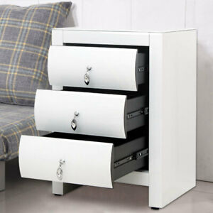 1-Pair-Mirrored-3-Drawer-Storage-Side-Table-End-Glass-Bedside-Cabinet-White-Draw