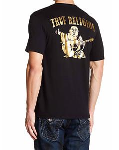 c8ed905abe1b TRUE RELIGION T-SHIRT GOLD BIG BUDDHA LOGO BLACK CREW NECK T-SHIRT ...