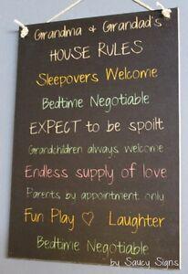 Grandparents House Rules Black Kids Cute Rustic Wooden Grandma