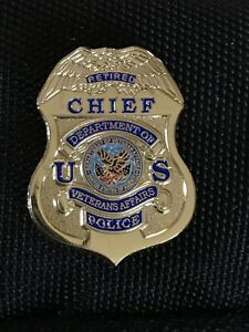 Details about VA Veterans Affairs Police Retired Chief Mini Badge Lapel Pin  Gold NEW!! ON SALE