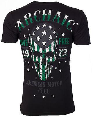 ARCHAIC by AFFLICTION Men T-Shirt SMASHER American Customs USA FLAG Biker $40