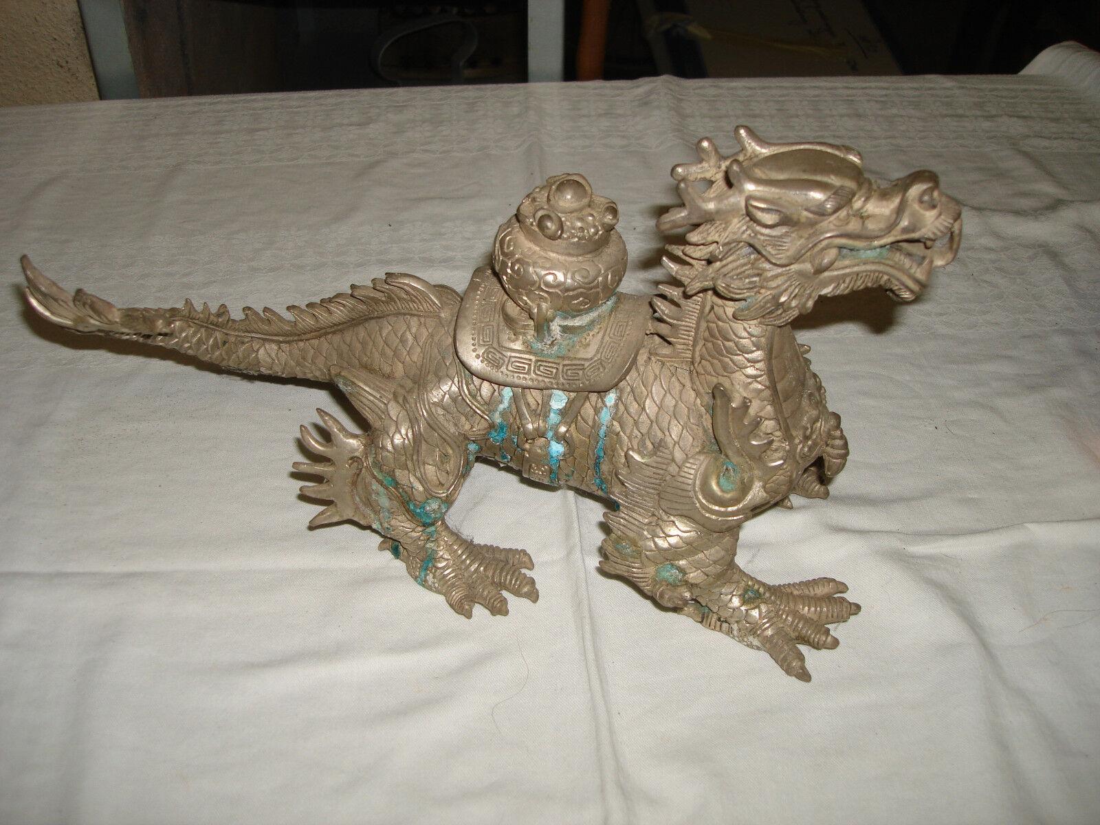 Dragón asiático neuplata metal decorativas decoración decorado