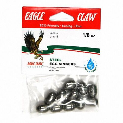 Eagle Claw STEEL Egg Sinkers Choice of size and Quantity