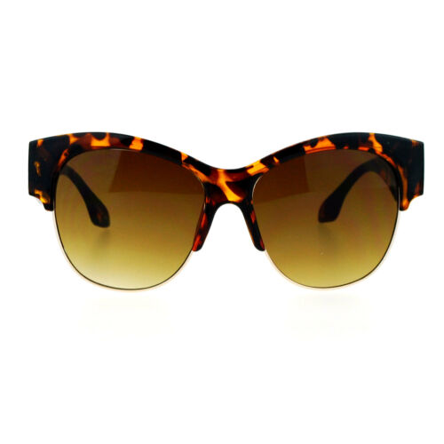SA106 Retro Diva Thick Plastic Half Rim Cat Eye Sunglasses