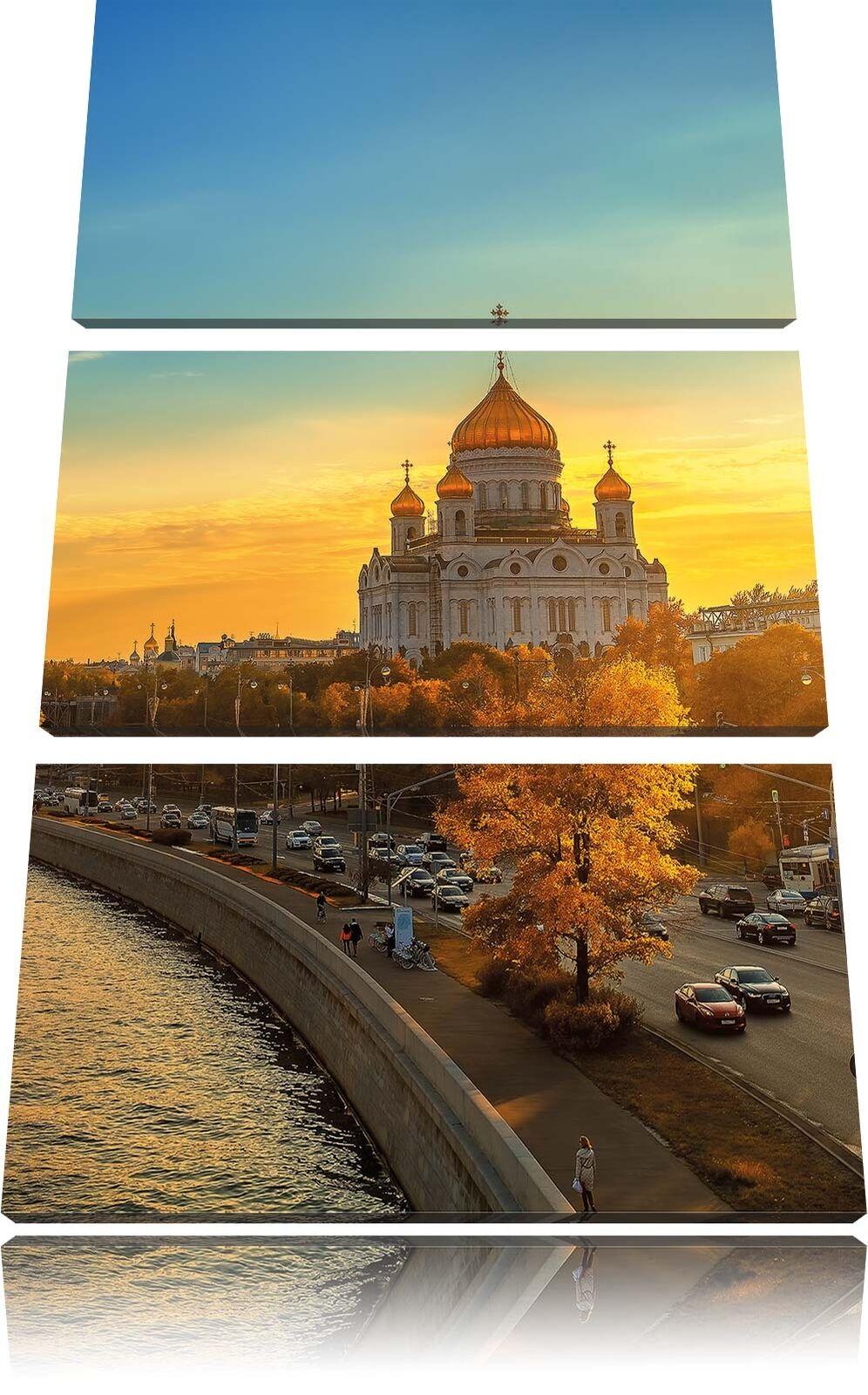 Tramonto in Mosca 3-Teiler Quadro su Tel Decorazione Parete Stampa Artistica