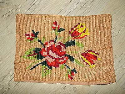 Valiente Funda De Almohada Beige Flores 47x33 A Mano Tejer True Vintage 60er Años 1960 Hermoso En Color