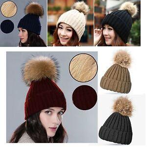 New-Raccoon-Faux-Fur-Ball-Pom-Beanie-Bobble-Ski-Hat-Cap-Knit-Warm-LICK