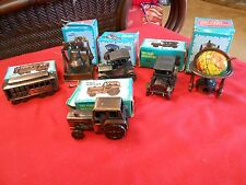 "SIX Miniture Metal PENCIL SHARPENERS-""World Globe"" ""Tractor""-""Liberty Bell"" etc."