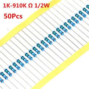 50Pcs-1-2W-0-5W-Metal-Film-Resistor-1-1K-910K-Ohm-1-K-910-K