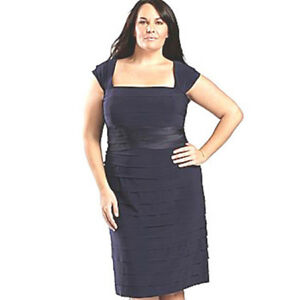 Details about NEW Plus Size Navy Jersey Sheath Dress Slimming Tiers Cap  Sleeves 16W