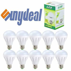 10-PACK-LED-60W-9W-Soft-White-60-Watt-Equivalent-E27-6500K-light-bulb-Daylight