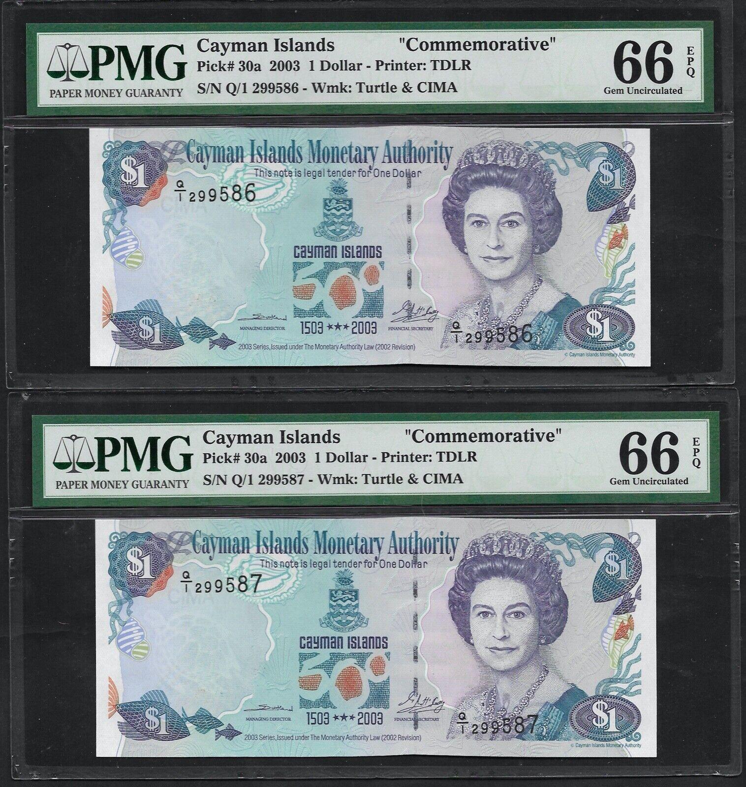 30 UNC Note QEII Cayman Islands Dollar $1  2003 P