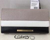 Brahmin Checkbook Wallet Grey Canton Leather Black Creme Tan