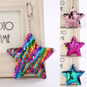 Star-Shaped-Mermaid-Sequins-Key-Chain-Handbag-Pendant-Keyring-Jewelry-GiftO-xh