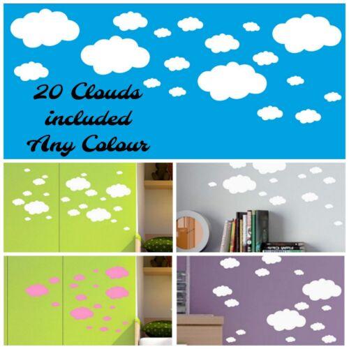 20 nubes Pared O Ventana Arte Pegatina Calcomanía Guardería Niños Niñas Niños de Vinilo para Habitaciones