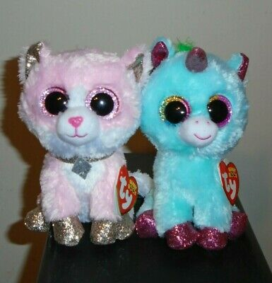 "/& ARIELLA Unicorn Cat Ty Beanie Boos  AMAYA 6/"" Claire/'s Exclusives NEW MWMTS"