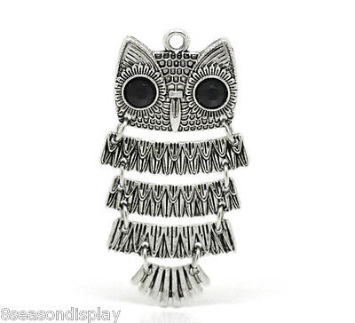 "25 Silver Tone Black Rhinestone Owl Charm Pendants for Necklace 5cmx2.6cm(2""x1"")"