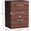 thumbnail 2 - Riano Bedside Cabinet Chest Of Drawers Walnut 3 Drawer Metal Handles Runners