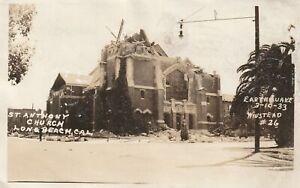 VINTAGE POSTCARD ST. ANTHONY CHURCH LONG BEACH CAL EARTHQUAKE MARCH 1933
