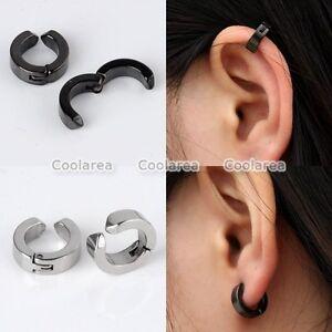 Par De Acero Inoxidable Ear Stud Cuff Aro Non Piercing Pendientes