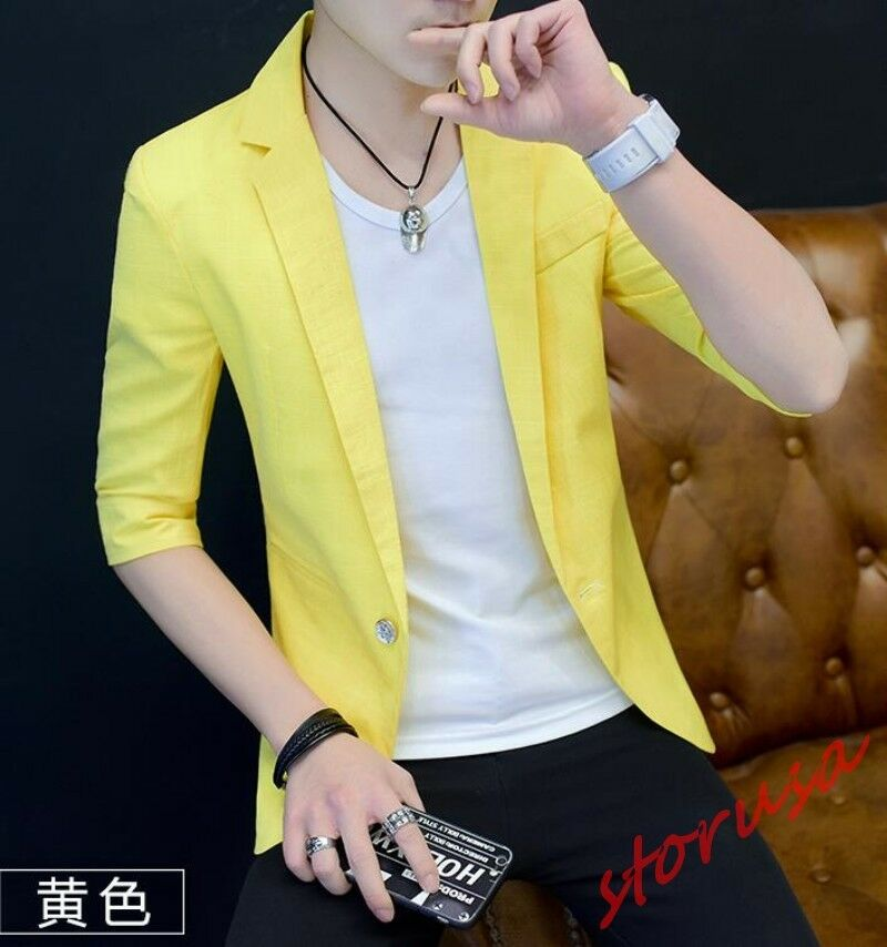 Men's Slim Fit One Button Collar Half Sleeve Casual Korea Autumn Coat Blazers