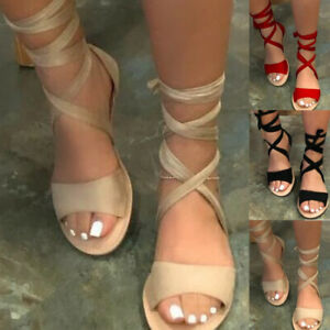 WOMENS LADIES ANKLE STRAP PEEP TOE ESPADRILLE FLAT SANDALS SUMMER WOMEN SHOES