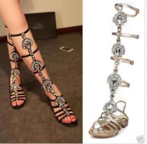 676c45d42f5b Image is loading Womens-Hot-Gladiator-Sandals-Celeb-Rhinestones -Leather-Diamante-