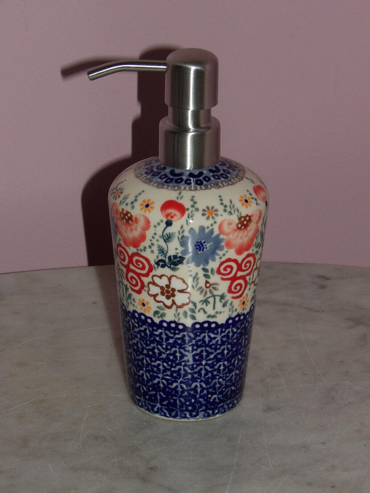 Polish Pottery Lotion or Soap Dispenser! UNIKAT Signature Sweet Harmony!