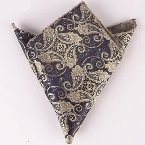 (t34) Brown Gold Paisley Men Silk Pocket Square Hanky Wedding Party Handkerchief