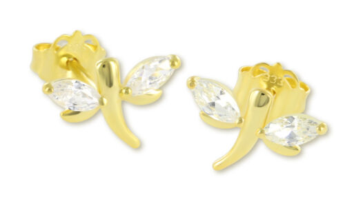 VASCAYA Damen Kinder Ohrstecker Ohrring Libelle Zirkonia weiß Gold 333 Geschenk