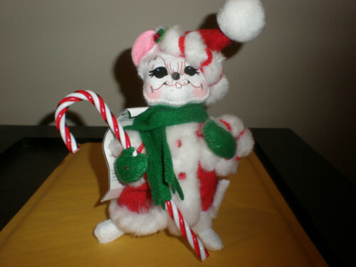 """Vintage  ANNALEE 4"""" Peppermint Twist Mouse w Candy Cane Christmas"""