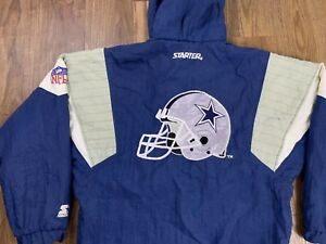 outlet store 1af5c ff8a5 Details about Vintage Dallas Cowboys Starter Jacket Small Hooded NFL  Football Spell Out Helmet