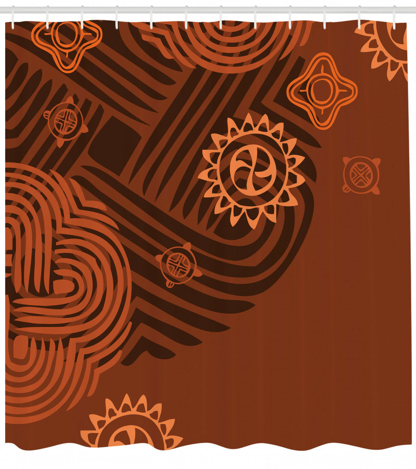 Earthy Tones Pattern Shower Curtain Fabric Decor Set With Hooks 4 Grosses D80337
