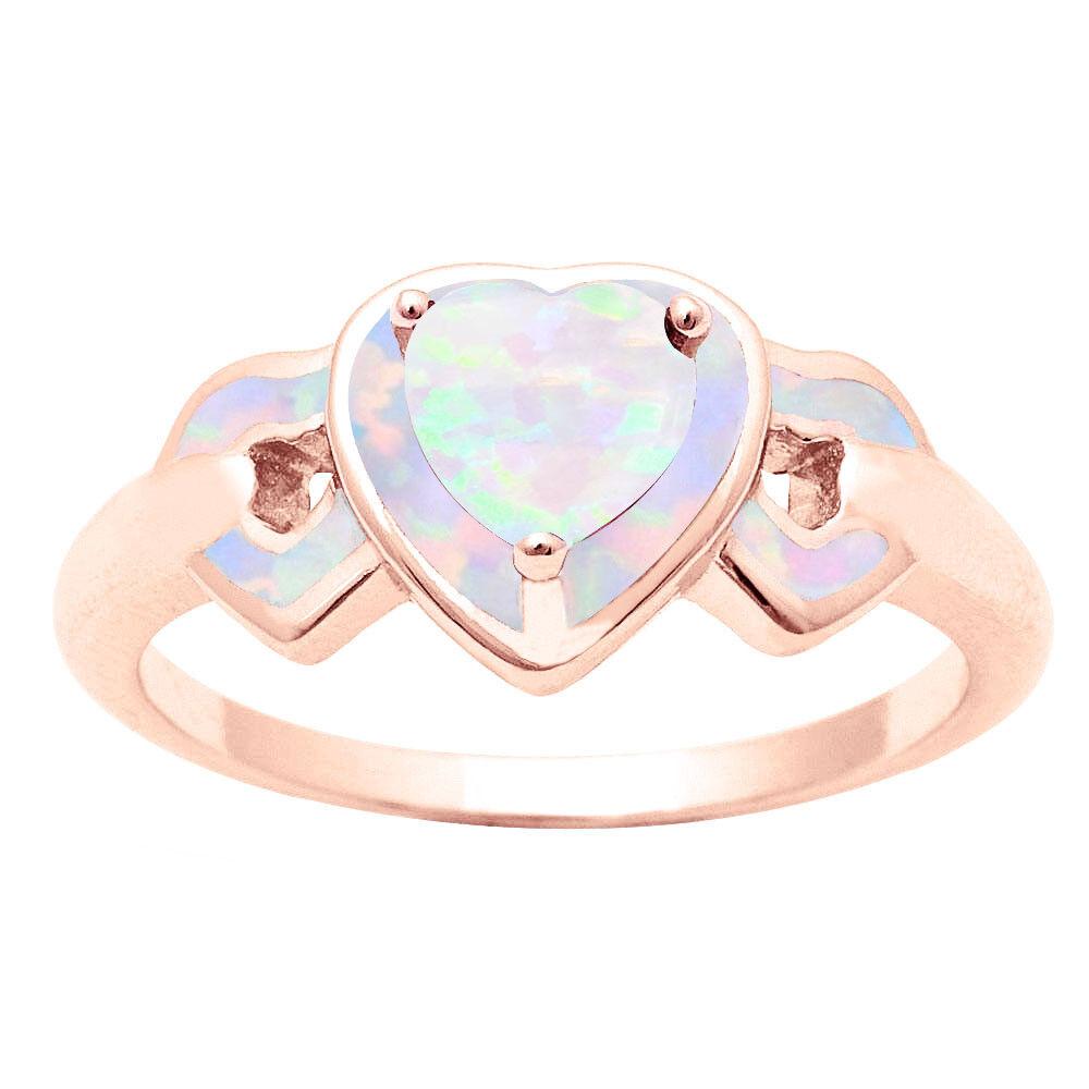 18k rosa Placcato oro oro oro a Tre Cuori Australiano Opale di Fuoco Pietra Zodiacale dcc821