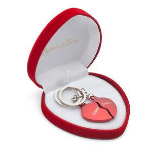 Geteiltes Herz ROT Herz-Box Schlüsselanhän<wbr/>ger Gravur Geburtstag Liebes Geschenk